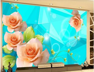 beautiful scenery wallpapers Blue background romantic roses flowers living room background wall decoration painting