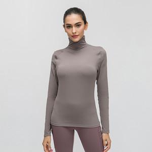 lu tops Stand Collar autumn mesh lu yoga clothing skin-friendly nude fitness top Stretch Slim long sleeve T-shirt for women gym lu shirts