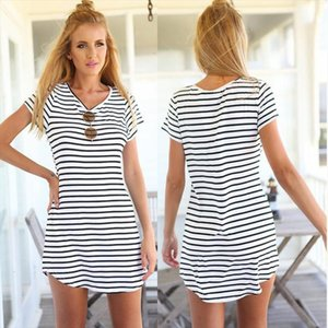 Women Fashion Summer Short Sleeve Striped Casual Long T Shirt Sexy Mini Dress drop shipping good quality designer clothes