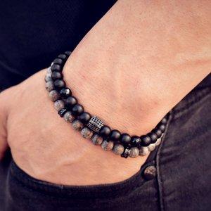 Trendy Column Gray Black Stone Bead Bracelet Men Geometric 8mm Stone Handmade Strand Men Bracelet Jewelry Gift