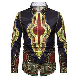Ethic Style 3D Digital Printed Long Sleeve Tun-down Collar Shirts Autumn Mens Apparel Africa Style Mens Designer Shirts Fashion
