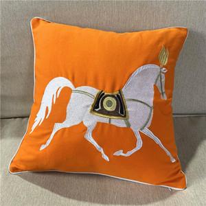 Делюкс Вышивка Оранжевый Красный Белый конь Дизайнер Наволочка 45x45cm Диван Подушка Обложка Холст Главная Постельные принадлежности Декоративное Продажа поштучно