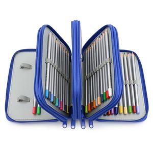 Высокая емкость Четыре слоя Карандаш сумка площади 72 Отверстие Sketch Цветной карандаш мешок Pen Case Art Школьные принадлежности Kawaii Канцелярские товары