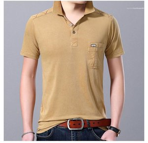 Polos Summer Solid Color Casual Male Apparel Mens Lapel Neck Short Sleeved Tshirts Slim Designer Pocket