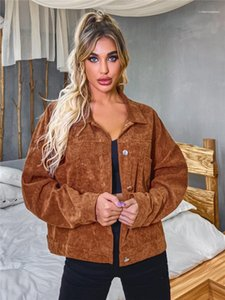 Jackets Classical Solid Color Single Breasted Double Pocket Coats Casual Female Clothing Dropshipping Autumn Winter Womens Designer Corduroy