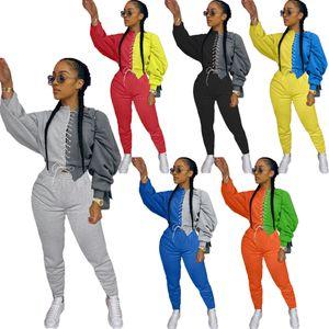 Damenmode Sexy All-Match Set Color Matching beiläufige Knöchel-Bindung Hosen Stitching Tie Pullover Zweiteilige Plus Size Frauen Kleidung