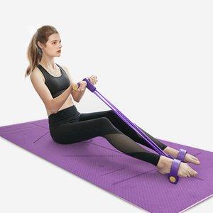 2 Pièces Yoga Set entraînement 4 Tubes Yoga Fitness Fort de bandes de résistance avec 10 mm Mat latex naturel Pédale exerciseur up Sit