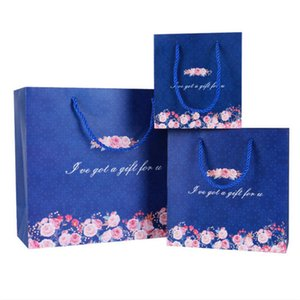 New Navyblue dot and Floral Paper Bags Wedding Favors Candy Boxes Hand Bags Makeup Bags Party Gift Bag Festive Supplies high quality