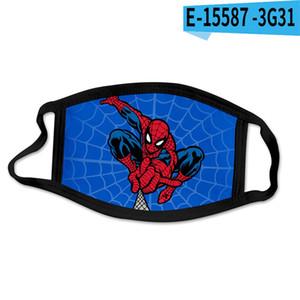 Spider-Man 3D de diseño de impresión de algodón mascarilla reutilizable cara máscaras de la puerta hacia fuera practicar deporte Máscaras algodón de la manera diseñador de la máscara DHA44