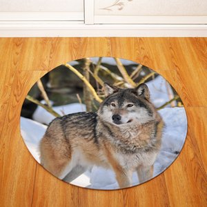 80cm Animal Photography Wolf Circle Room Floor Mat Kitchen Bathroom Round Non-slip Door Carpet Home Waterproof Soft Cool Rug
