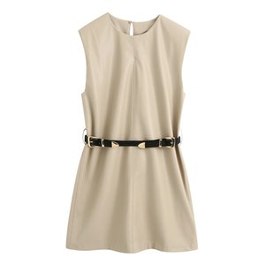 Fandy Lokar O Neck Dresses Women Fashion Solid PU Leather Sleeveless Dress Women Elegant Tie Belt Waist Mini Female Ladies HX