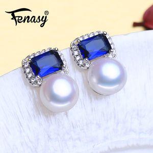 FENASY Argent 925 perles d'eau douce naturelle Boucles d'oreilles bijoux de fiançailles Sapphire Bohème Boucles d'oreilles pour les femmes