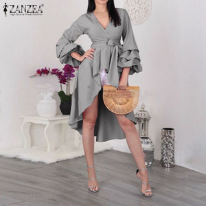 Tallas grandes Camisas irregulares para mujer Zanzea con estilo Cheque Blusa Casual Sopago Manga Blusa Femenina V Cuello Robe Túnica de verano Tops 7