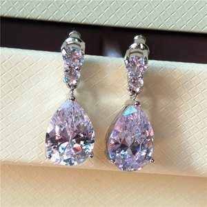 Luxury Female Red Water Drop Earrings Fashion Silver Color Zircon Stone Earrings Vintage Long Dangle For Women