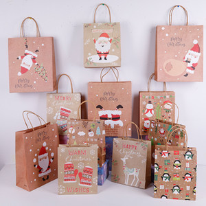 Lovely Christmas Kraft Paper Bag Creative Christmas Gift Packaging Bag Eco-friengly Shopping Bags Portable Holiday Tote Paper Bags VT1670