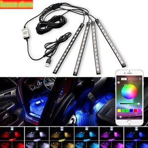 Car decorative ambient Led bulbs ambient lamp app music remote Control USB RGB SMD Auto Flexible Interior light