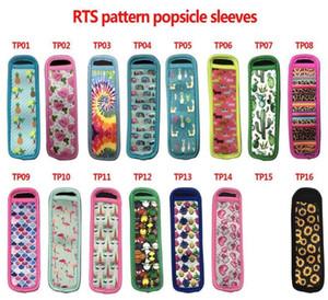 I titolari degli Stati Uniti Stock 15 Style Pattern riutilizzabile Popsicle Popsicle sacchetti freezer Ice Pop maniche antigelo Ice pop titolari neoprene Insulator