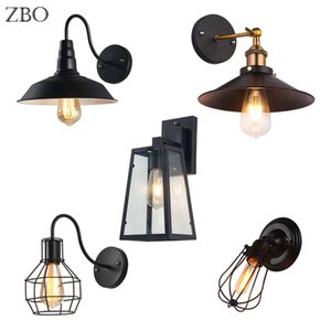 Muro Nordic Vintage Lamp Black Iron abajur E27 Estudo / Quarto de hotel / quartos / Indústria Edison Lamp base americana de Iluminação Indoor Para