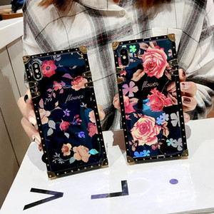 Square Blu-ray Rose Flowers Show Case for iPhone 12 11 Pro XS MAX XR X 8 7 6S 6 Plus Case for Samsung Note 20 Plus S20 Ultra Plus