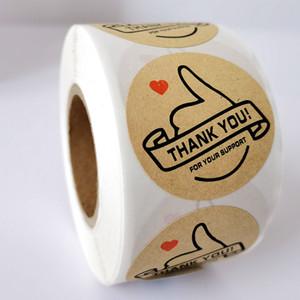 Этикетка бумага Наклейки Фольга Спасибо Наклейки Скрапбукинг 500pcs / Roll Wedding Envelope Печати ручной работы Канцелярские наклейки