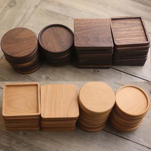 Coasters en bois rond en bois de hêtre carré Bois noir Noir Tapon Tapis 8 * 8cm Casse à café Cuisine Cuisine Cuisine Home Bar Outils EWC2320