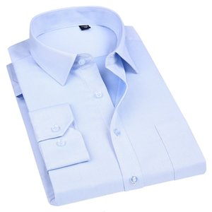 High Quality Non-ironing Men Dress Long Sleeve Shirt 100% Cotton New Solid Male Plus Size Fit Business Shirts White Blue Q190517