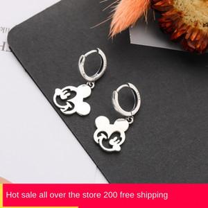 pjiQi Kore tarzı Gümüş 925 sevimli ve küpe Fare küpe moda basit moda ins çevrimiçi kırmızı tarzı karikatür hayvan kulak