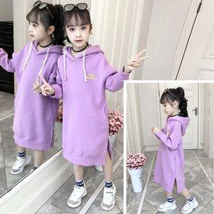 Kids Sweatshirt Girls Hoodie Dress Autumn Winter Fleece Thick Children Long Sweater Dress Clothes Kids Outfits 8 10 12 Years