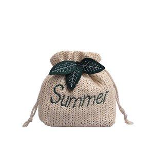 Pattern Women Messenger Bag Embroidered Round Straw Handbags Woven Beach Circle Bohemia Shoulder Bag Drawstring Totes Summer