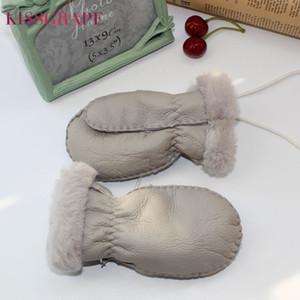2020 Winter 1-5Y Kids Warm Gloves 100% Natural Sheep Fur Gloves for Boys Girls Children's Thick Mittens Outdoor Hand made