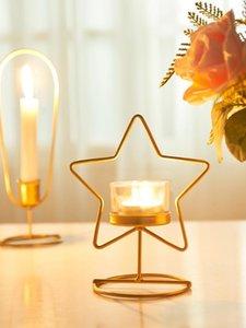 Titolare Nordic oro Ferro Candeliere geometrica Tealight Cena lampade da tavolo creativo supporto di candela di Natale semplice Home Decor L