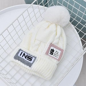Autumn and winter Korean version of woolen hat with label letter cap and velvet thick warm knit hats for women