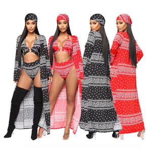 Women's Sexy Printed 4 Pieces Set High Waist Bikini Maxi Swimsuit Cover up +Bikini Top+High Waisted Swimsuit Bottom+Headscarf