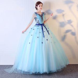 100%real light blue shoulder veil stage opera ball gown medieval dress Renaissance gown queen Victorian dress Marie Antoinette  Belle Ball