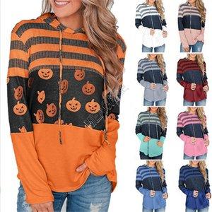 Dia das Bruxas Natal mulheres Hoodies Camo listrado rena abóbora impresso completo manga com capuz suéter Outono Tops Roupa D9302