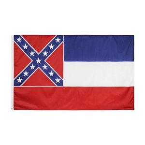 90x150cm Bandera Mississippi América banderas Poliéster Fibra Striaes Cinco puntos estrellas Impreso Metal Banners Round Garden Decorate 6 5yhb F2