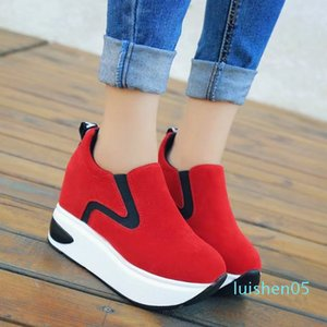 Women's Platforms Casual Sneakers Increased Heel Bordered Breathable Slip on Thick Bottom Creepers Flats Fashion Outdoor Shoes l05