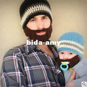 Bearded masks hand-woven wool hat Funny hats wool cap wool hat winter windproof ear hat Dy2C#