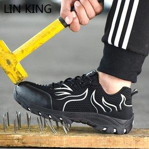 LIN KING Неуничтожаемой обувь Мужчины Безопасность работа Обуви стальной подносок проколостойкая сапоги Легкий дышащий Узелок кроссовки