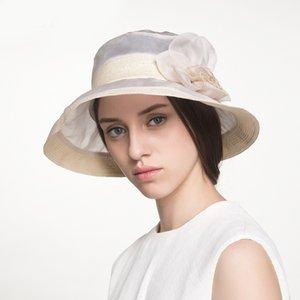 2020 moda verão chapéus de sol para mulheres elegantes senhoras Silk Hat Vintage Ampla Grande Brim com flores artesanais Big Mulheres viseira Chapéus