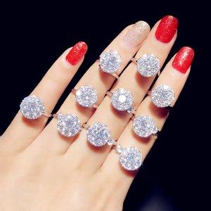 UILZ 2020 récent Rotating design anneaux ouverts pour les femmes en or blanc Finger Bagues avec zircon cubique chanceux cadeau femmes Bijoux UR253