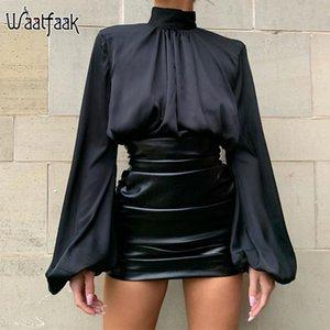 Waatfaak Laterne Langarm-beiläufige Bluse Frauen Weiß Schwarz Elegant Stain Damen Blusen 2020 hohe Ansatz Frühling koreanische Tops