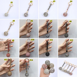 Diamond Keychain Shiny Crystal Ball Key Ring Full Drill Car Key Buckle Key Chain Ring Strap Women Charm Pendant Decoration OWE1811