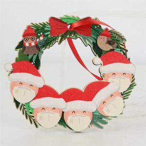 2020 الحجر عيد الميلاد زخرفة شجرة عيد الميلاد خشبي ثلج معلقة معلقة سانتا كلوز الديكور DIY اسم العائلة من 2-6 GGA3742-3