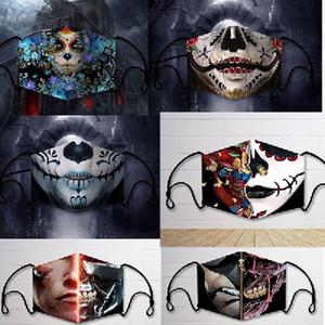 Halloween mascherina di orrore personalità super cool prova di polvere anti-nebbia maschera in cotone lavabile ripetitivo modello ma guarnizione inseribile adulti stampata