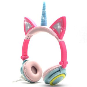 Wired Foldable Flashing Unicorns Kids Headphones With LED Light Earphone For Mobile Phone PC Computer Boys Girls Gaming Headset