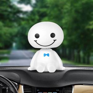 Plástico de dibujos animados de coches robot Cabeza linda muñeca Sacudiendo decoración interior auto del tablero de instrumentos Bobble Head Juguetes ornamento Accesorios Nlyi #