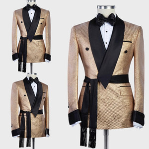 Arabic Luxury Gold Mens Wedding Tuxedos with Belt Custom Made Single Jacket Groom Groomsmen Suit Mens Formal Wear