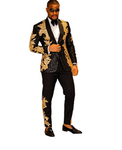 Nero Mens Suit Due Pezzi Paillettes ricamo Wedding Grooms smoking su ordine One Button promenade abito giacca e pantaloni