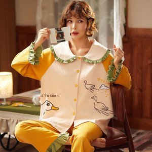 GCAROL Womensets 2 Pieces Cartoon Pajama Long Sleeve Lovely Pure Cotton Various Graffiti Printed Home Clothes Suit 3XL 4 Season 200919